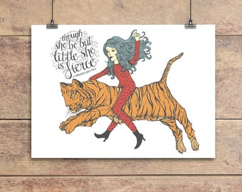 She is Fierce - William Shakespeare Quotation - Greeting Card