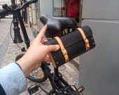Personalized leather and wood bicycle bag  with Initials . Leather bicycle tool bag + gift  removable strap handle