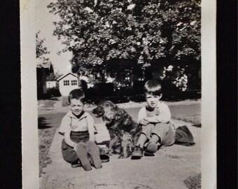 Original Antique Photograph The Boys with Queenie