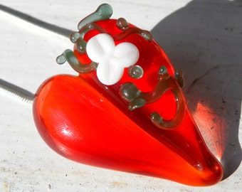 Glass Rose Heart Pendant Jewelry Necklace Lampwork Hand Blown Boro SRA Red  Green Vines