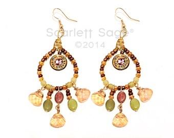 Semi precious Gemstone Chandelier Bullet Dangle Earrings