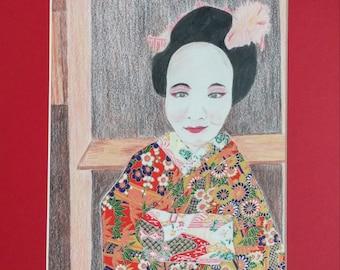Geisha Original Mixed Media Art - colored pencil and washi paper - by Theresa Smith 8x10 print with 11x14 mat