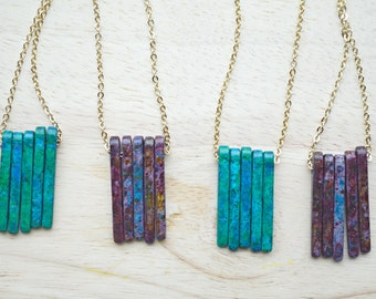 Vertical Bar Necklace / Spike Necklace / Purple or Turquoise / Ready to Ship