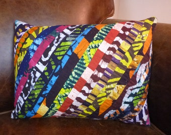Ghanaian Print Decorative Throw Pillow Cover 12 x 16 - Authentic Wax Print Batik