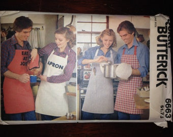 Butterick 70s Sewing Pattern 6663 Apron, Mitt, Pot Holder and Iron-on Transfers