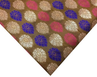 Striped Chanderi Fabric in Onion Pink, Purple and Gold With Choco Base - Silk Fabric By Yard