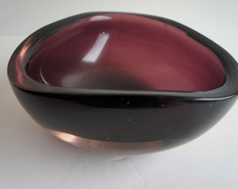 Murano Glass Bowl Purple Mid Century Modern Vintage