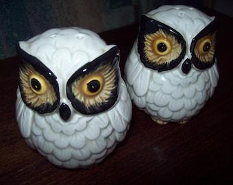 Ceramic Salt & Pepper Shakers - Owl