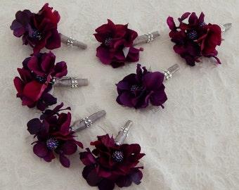 Mens Wedding Boutonniere- Purple Hydrangea and Silver Ribbon Buttonhole Lapel Pin Accessory