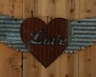 FREE SHIPPING Up-cycled old Corrugated Metal Wings with Love and Heart
