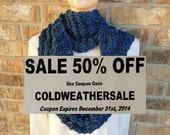 "Super Chunky Cowl Oversized Hand Knit Infinity Scarf in ""Olympic"" Deep Blue Made in the USA"