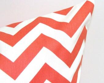 Pillow.CORAL PILLOW.12x16 or 12x18 inch Chevron.Decorative Pillows. Lumbar Pillow Cover.Housewares.Coral Chevron Pillow.Throw Pillow.Lumbar