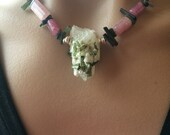 Tourmaline Necklace, Raw Tourmaline Necklace, Pink And Green Tourmaline Necklace, Quartz And Tourmaline