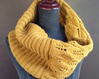 Hand knitted Mustard Cowl Scarf Leaf Lace and Geometrical Pattern