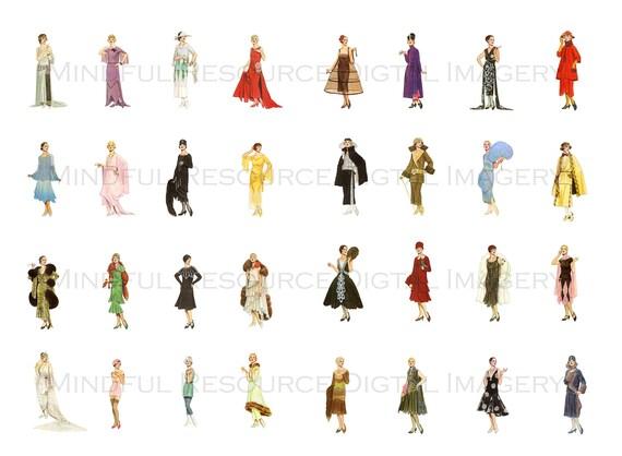 Gatsby era fashion 20s women set 1 art deco women printable for Art deco era clothing