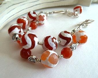 Earrings, Orange Agate Double Strand Bracelet, Orange and White Agate Bracelet, 2 Strand Orange Bracelet, Silver and Agate Bracelet