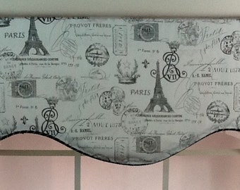 Paris shaped valance with black trim lined