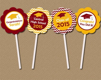 Personalized Chevron Graduation Cupcake Toppers - DIY Graduation Party Printables - Class of 2015 Toppers - Burgundy Gold Custom Colors