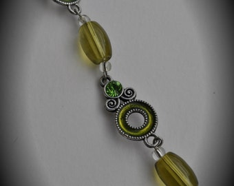 8 Inch Silver Plated Chain With Green Crystals And Enamel