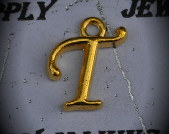 Letter T Gold Plated Charm