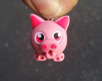 Polymer clay pig charm, pig charm, cute pig jewelry