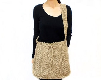 Cable Knit Messenger bag, Knitted Bag, Brown Long Handle Bag, Tablet bag, Shoulder, Back to School Bag