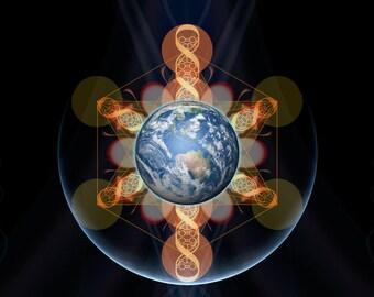 Galactivation, Original Mandala , Spiritual, Psychedelic, Shamanic, Ayahusaca Art, printed on archival photopaper