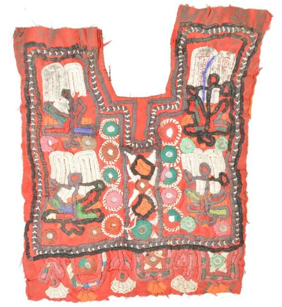 Vintage banjara neck yoke hand embroidered applique patch