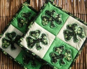 St. Patrick's Day Appliqued Quilted Potholders With Shamrocks - Set of 2