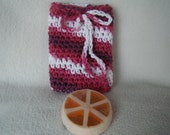 Crocheted Drawstring Soap Saver Pouch/Bag in the Color Love