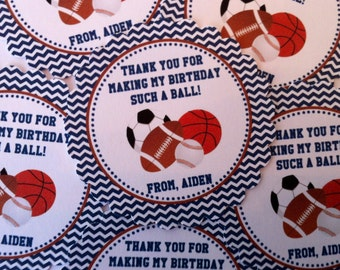 Sports Themed Party Favor Tags