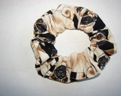 Pug Dog Canine Fabric Hair Scrunchie, womans scrunchies, dogs puppies, canines, animal scrucnhy, gifts for pet lovers, women's accessories