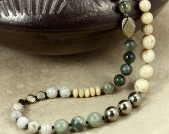 African Opal, Jasper, and Feldspar Necklace with Pyrite, Strand Necklace, Jasper Necklace, Green Necklace, Cream Necklace