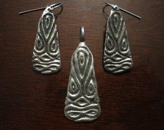 Viking Sea Monster Pendant and Earrings set.
