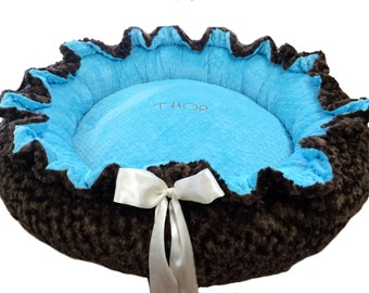 Round Pet Bed Aqua and Brown Minky