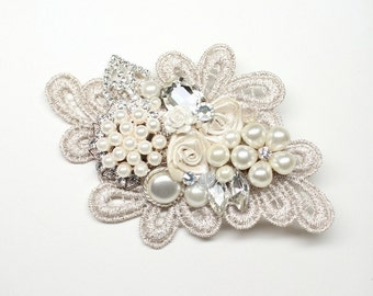 Champagne & Ivory Bridal Hair Comb- Vintage Hair Accessories- Wedding Hairpiece- Statement Bridal hairpiece-Champagne clip- Floral Haircomb
