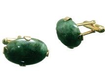 Spinach Jade Cufflinks Special Gothic Style Genuine Gemstone Gold Plated Sterling Silver 925