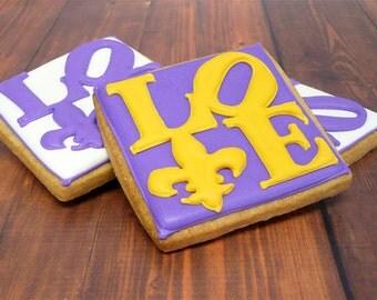 Decorated Cookies - Mardis Gras - Fleur de Lis - Love - 1 dozen