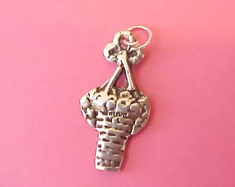 Unusual Sterling Silver Basket of Roses Charm