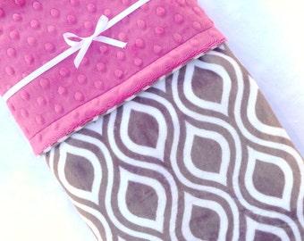 Minky Baby Blanket - Geometric Baby Blanket - Baby Blanket - Gray and Marsalla Baby Blanket - Stroller Blanket for Baby Girl - Maternity