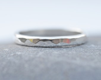 Sterling Silver Hammered Rustic Band Ring