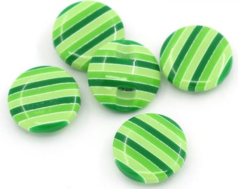 "Green Candy Stripe Buttons - shades of green, size 15mm, 5/8"", 24L, 1 hole shank novelty buttons"