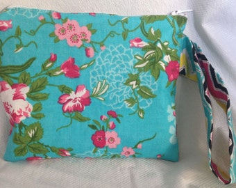 Turquoise and Pink Flower Wristlet