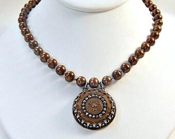 Statement Pearl Necklace .  Antique Cut Steel Button Pendant . Fall Colors