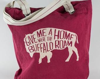 Canvas Cotton Tote - Buffalo Design - Red