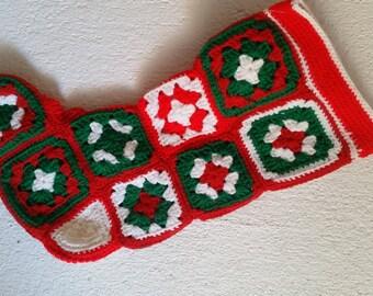 Vintage Christmas Stocking, Crocheted Stocking, Granny Square Stocking, Shabby, Cottage, Retro Christmas
