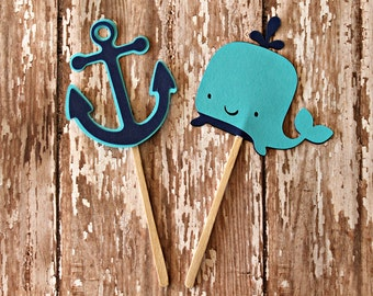 Navy and Aqua Whale and Anchor Cupcake Toppers - Navy and Aqua, Ahoy shower, baby showers, bridal showers, anchor toppers