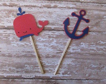 Navy and Red Whale/Anchor Cupcake Toppers - Nautical Toppers, Under the Sea, Baby Showers, Summer Parties, Red and Navy