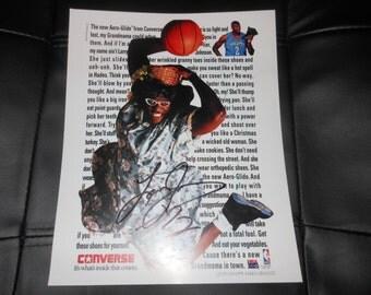 Grandmama Larry Johnson signed 8x10 photo - Charlotte Hornets NBA Basketball autograph auto