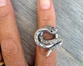 Coiled sterling silver snake ring
